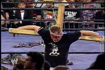 Resultado de imagem para ecw sandman crucified